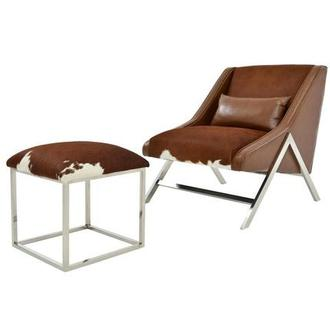 Krava Brown Leather Accent Chair w/Ottoman