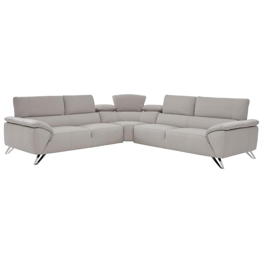Tesla Gray Leather Sofa  alternate image, 2 of 6 images.