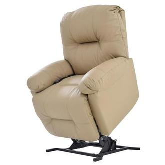 Wynette Cream Power-Lift Leather Recliner