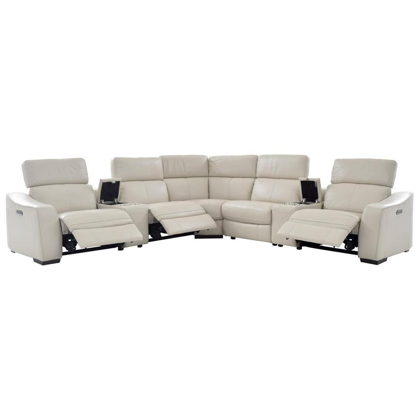 Jay Cream Power Motion Leather Sofa w/Right & Left Recliners  alternate image, 2 of 7 images.