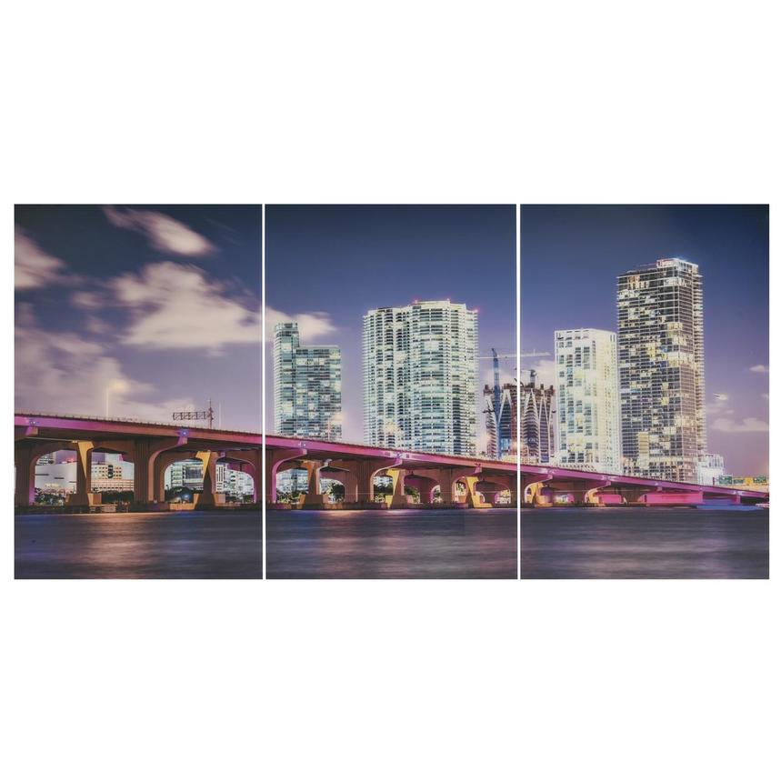 Miami Skyline II Set of 3 Acrylic Wall Art