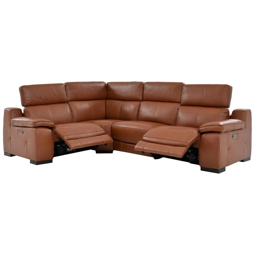 Gian Marco Tan Power Motion Leather Sofa W Right Left Recliners