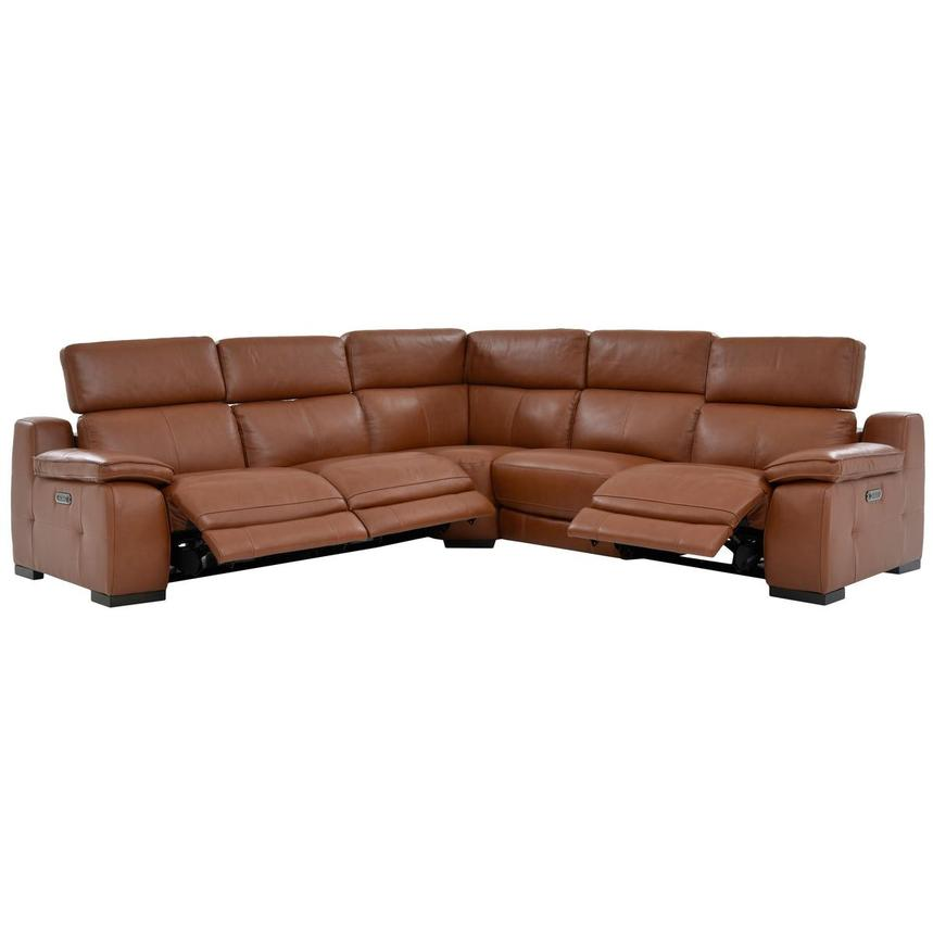 Gian Marco Tan Power Motion Leather Sofa w/Right, Left & Armless Recliners  alternate image, 2 of 7 images.