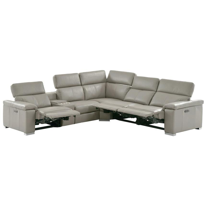 Charlie Light Gray Power Motion Leather Sofa w/Right & Left Recliners  alternate image, 2 of 10 images.