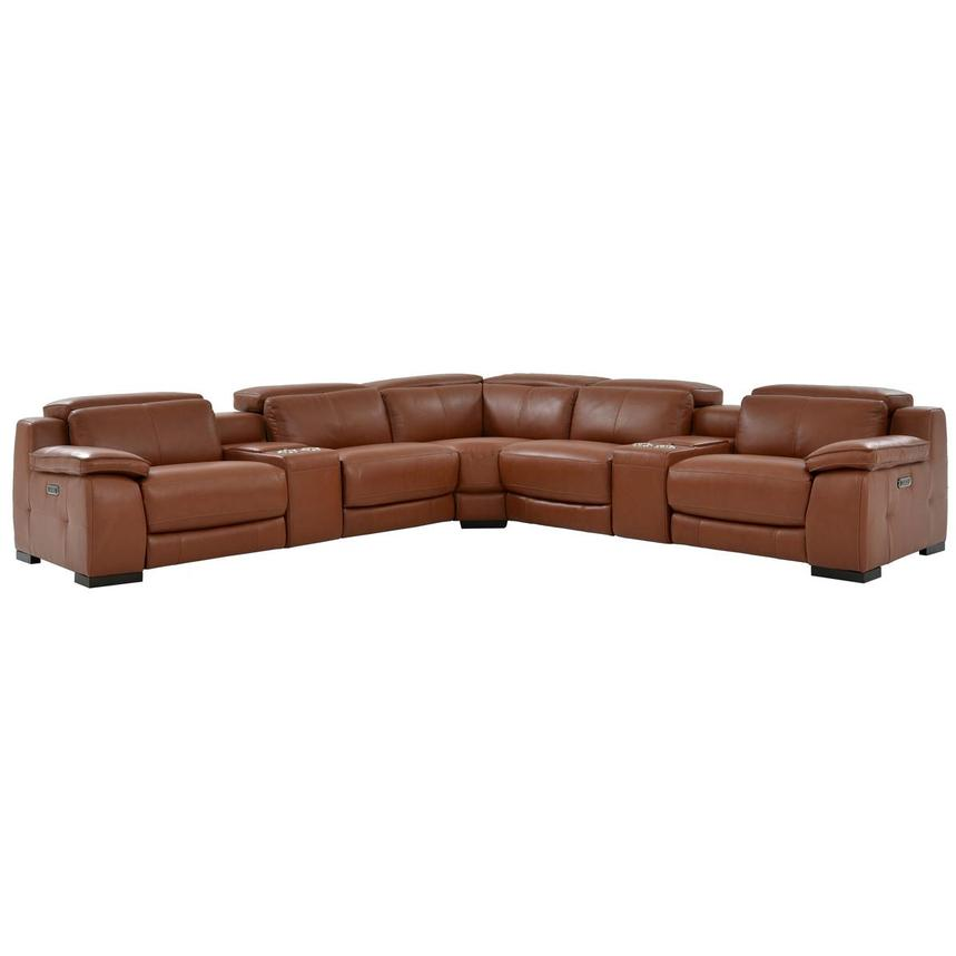 Gian Marco Tan Power Motion Leather Sofa w/Right & Left Recliners  main image, 1 of 8 images.