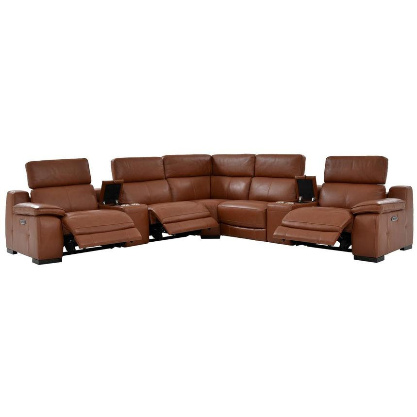 Gian Marco Tan Power Motion Leather Sofa w/Right & Left Recliners  alternate image, 2 of 8 images.