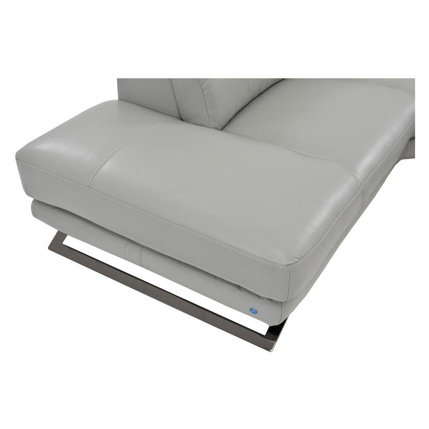 Toronto Light Gray Power Motion Leather Sofa w/Left Chaise  alternate image, 6 of 7 images.