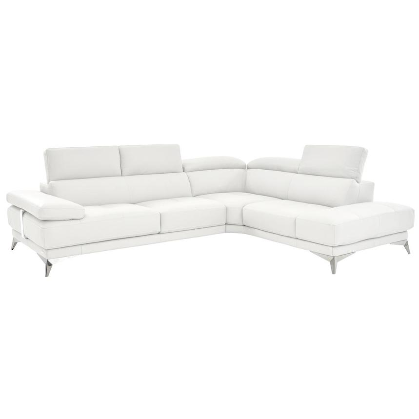 Winner White Leather Sofa w/Right Chaise  alternate image, 2 of 6 images.