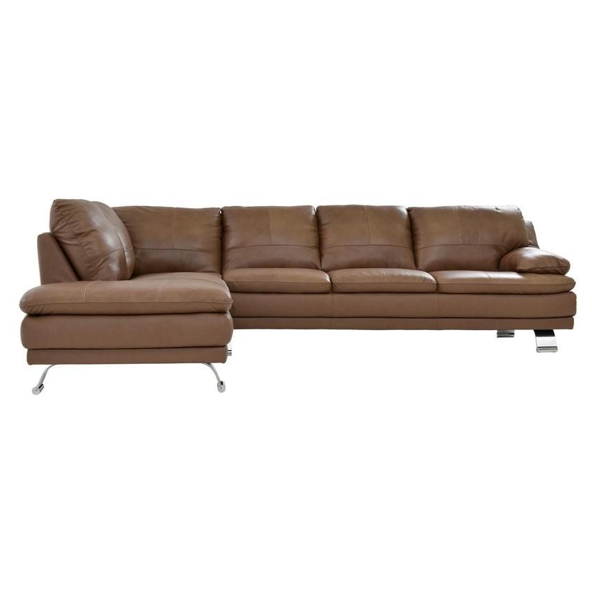 Rio Tan Leather Sofa w/Left Chaise  alternate image, 2 of 6 images.