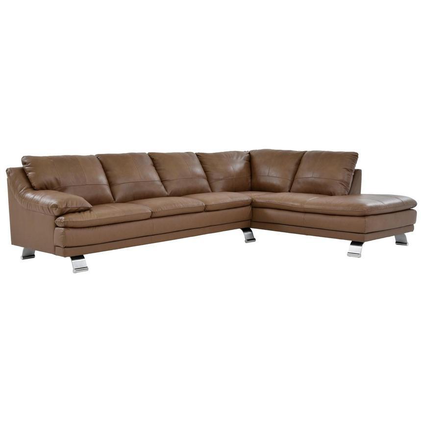 Rio Tan Leather Sofa W Right Chaise El Dorado Furniture