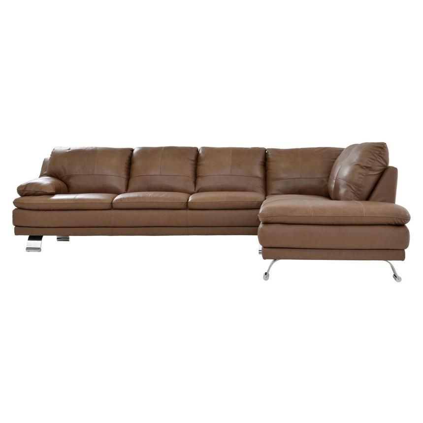 Rio Tan Leather Sofa w/Right Chaise  alternate image, 2 of 6 images.