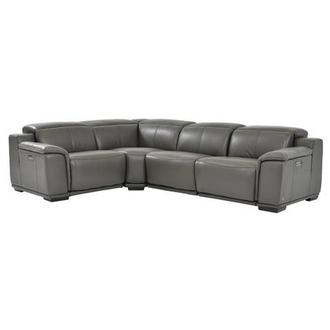 Davis 2.0 Gray Power Motion Leather Sofa w/Right & Left Recliners