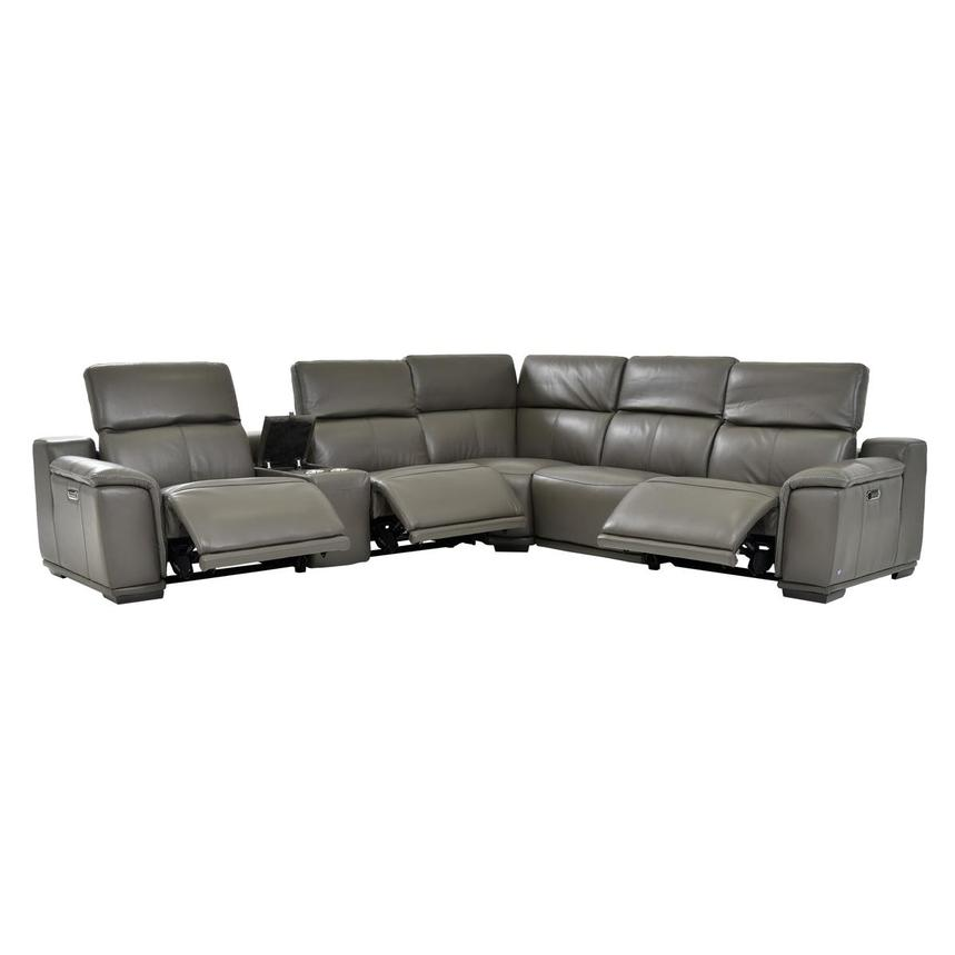 Davis 2.0 Gray Power Motion Leather Sofa w/Right & Left Recliners  alternate image, 2 of 7 images.