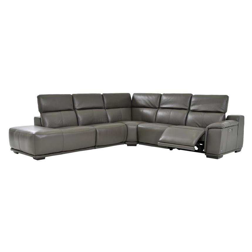 Davis 2.0 Gray Power Motion Leather Sofa w/Left Chaise  alternate image, 2 of 6 images.