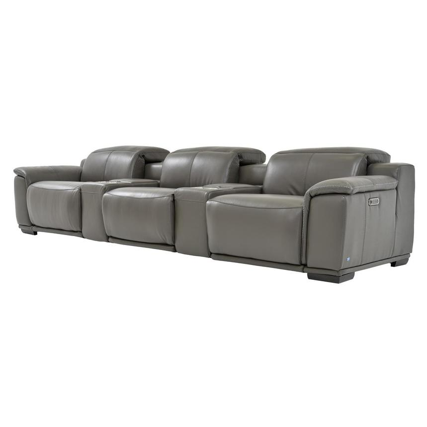Davis 2.0 Gray Home Theater Leather Seating  alternate image, 2 of 8 images.