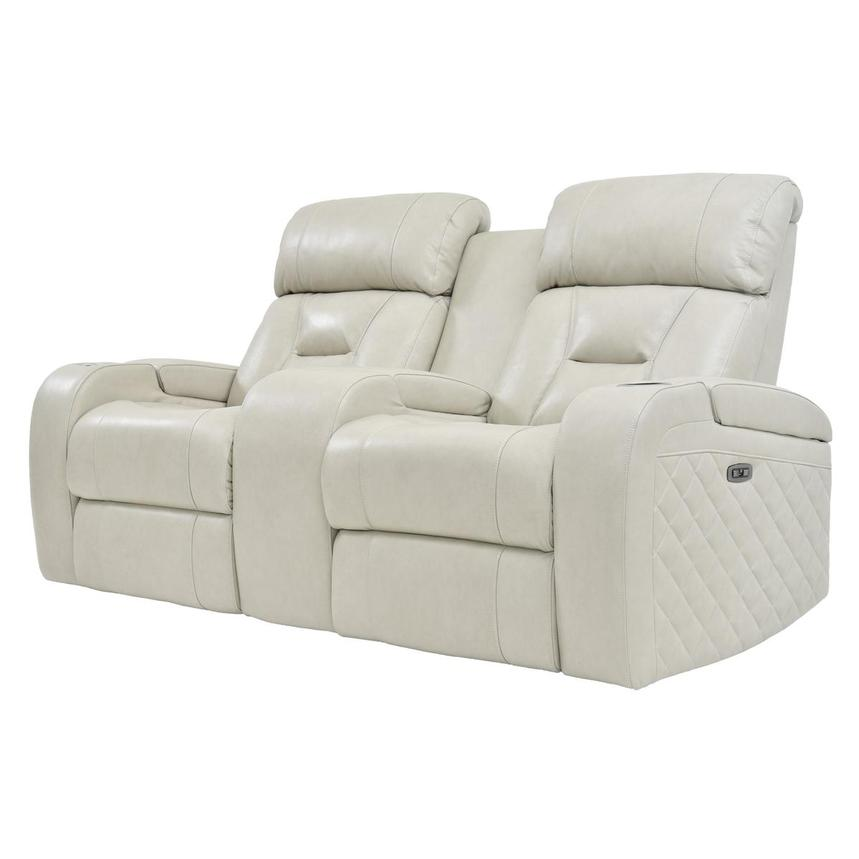 Gio Cream Power Motion Leather Sofa w/Console  alternate image, 2 of 10 images.