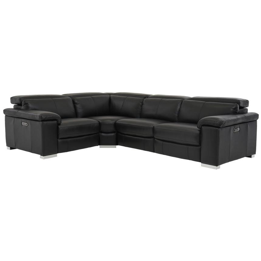 Charlie Black Power Motion Leather Sofa w/Right & Left Recliners  main image, 1 of 7 images.