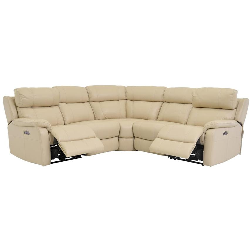 Ronald Cream Power Motion Leather Sofa w/Right & Left Recliners  alternate image, 2 of 6 images.