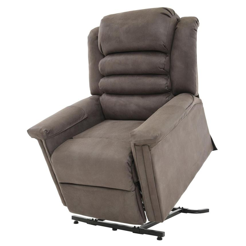 Soother Gray Power-Lift Leather Recliner  main image, 1 of 8 images.