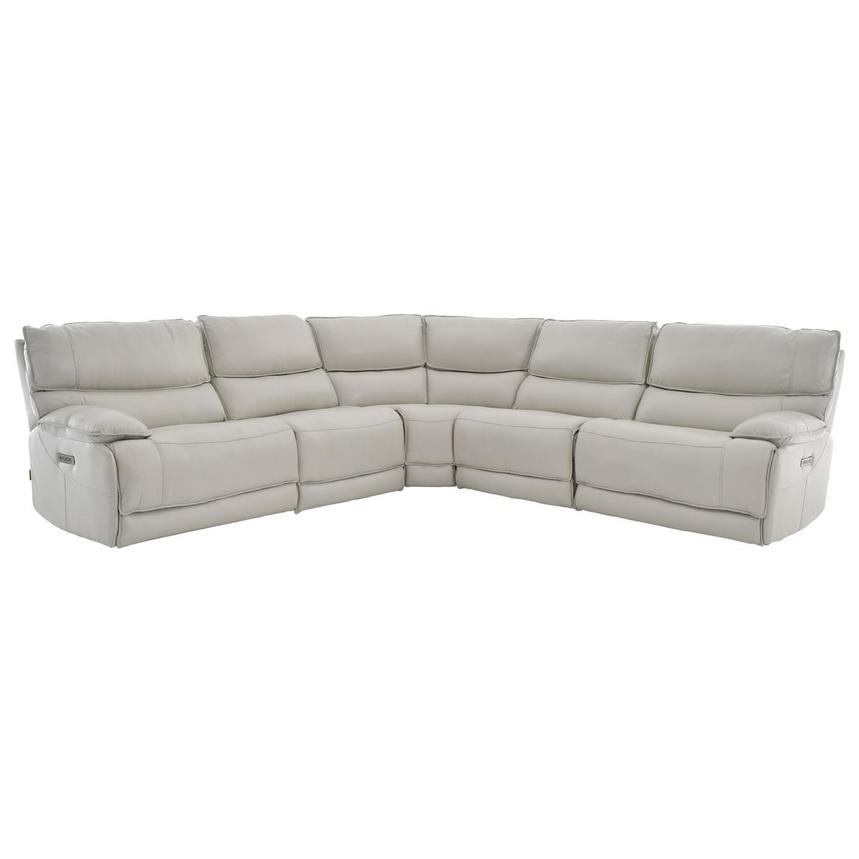Mumble Gray Power Motion Leather Sofa w/Right & Left Recliners  main image, 1 of 6 images.