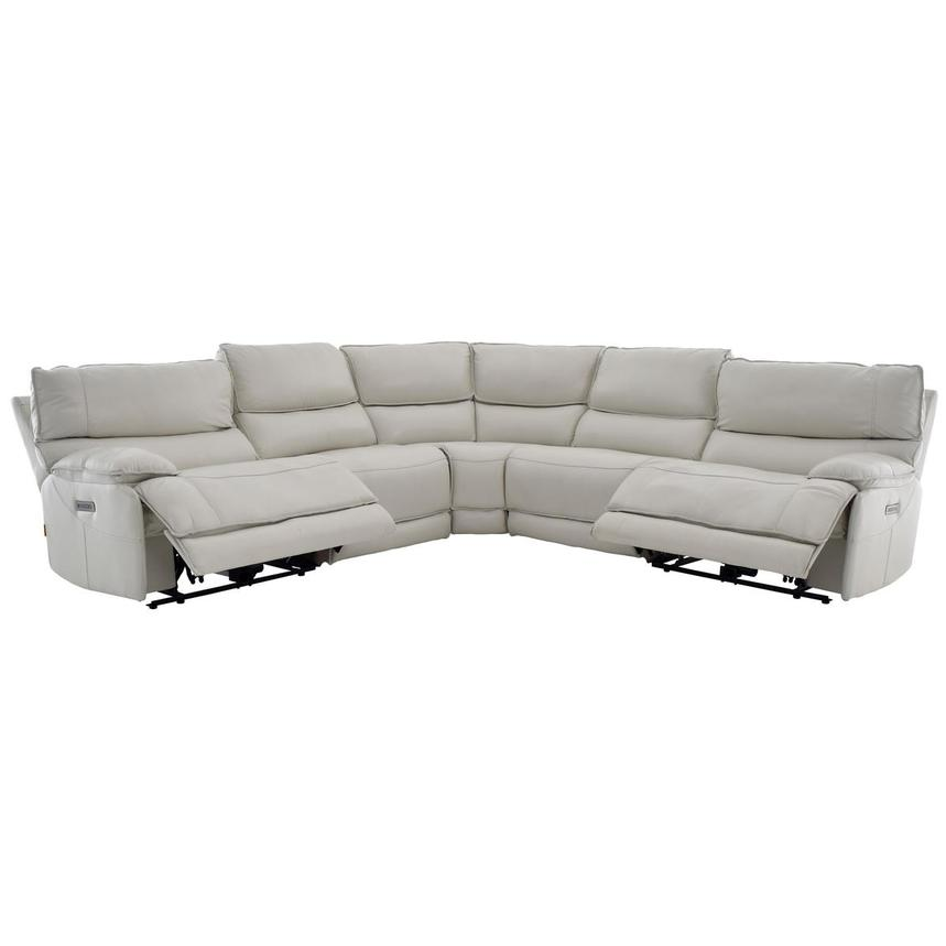 Mumble Gray Power Motion Leather Sofa w/Right & Left Recliners  alternate image, 2 of 6 images.