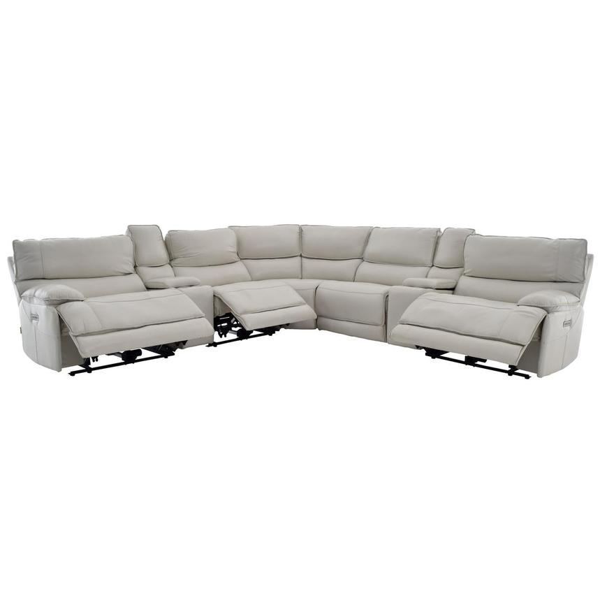 Mumble Gray Power Motion Leather Sofa w/Right & Left Recliners  alternate image, 2 of 8 images.