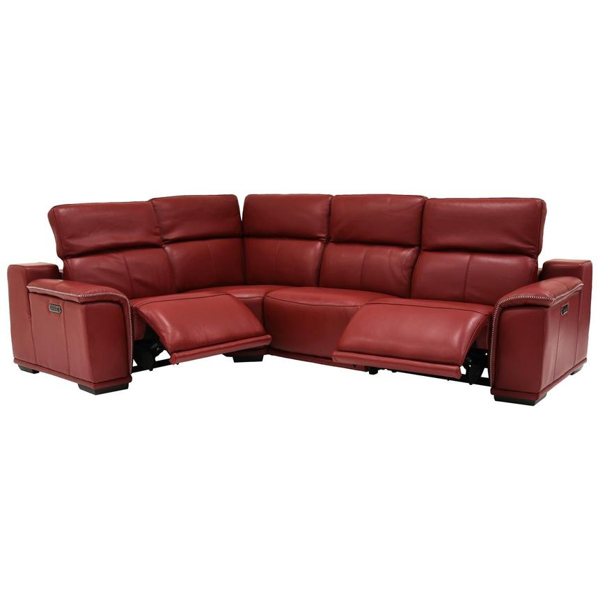 Davis 2.0 Red Power Motion Leather Sofa w/Right & Left Recliners  alternate image, 2 of 6 images.