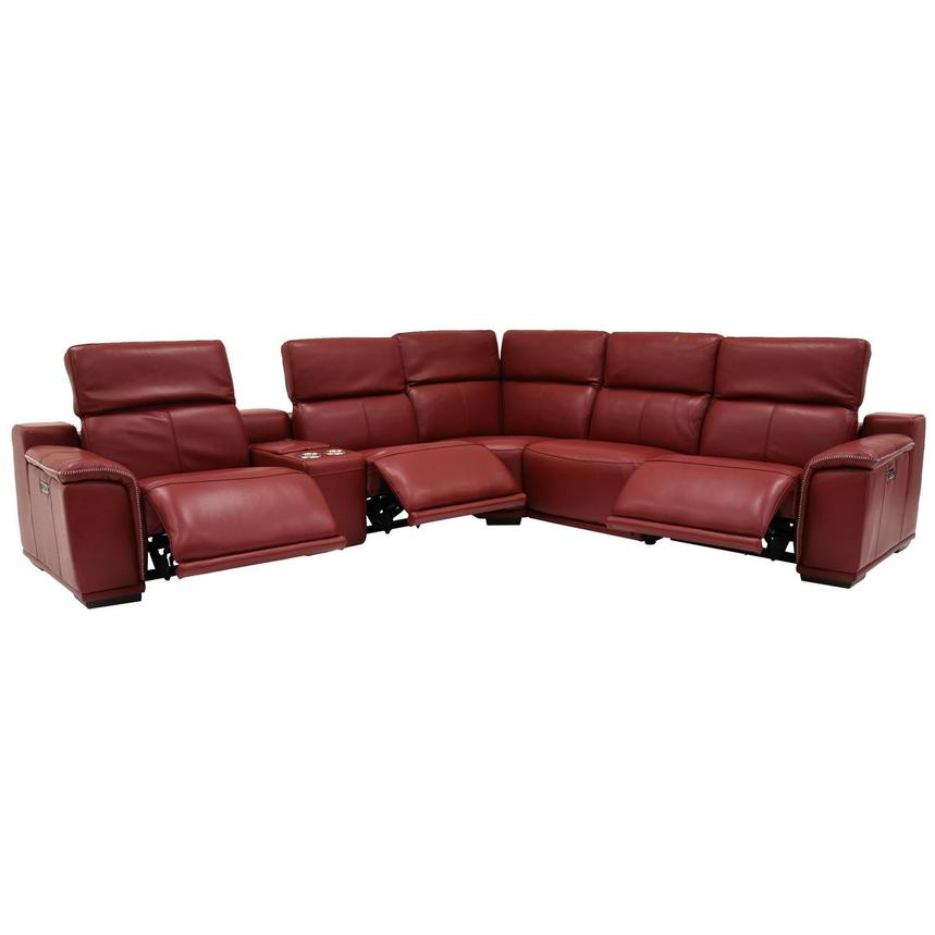 Davis 2.0 Red Power Motion Leather Sofa w/Right & Left Recliners  alternate image, 2 of 7 images.