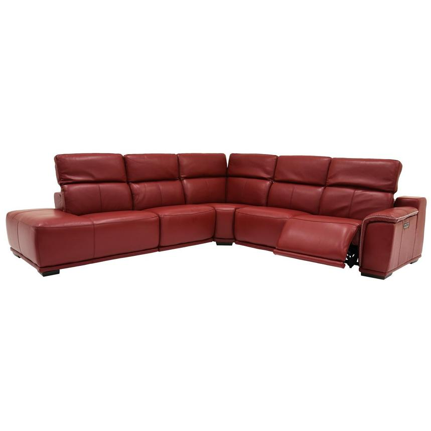Davis 2.0 Red Power Motion Leather Sofa w/Left Chaise  alternate image, 2 of 6 images.