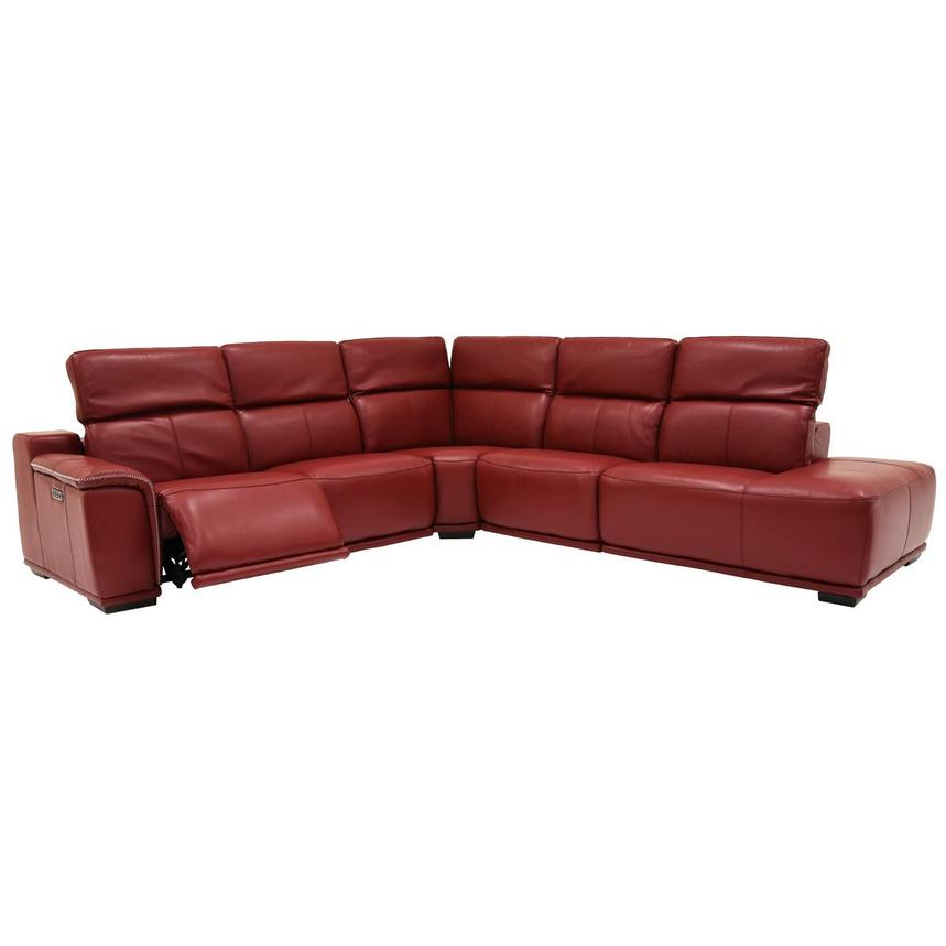 Davis 2.0 Red Power Motion Leather Sofa w/Right Chaise  alternate image, 2 of 6 images.