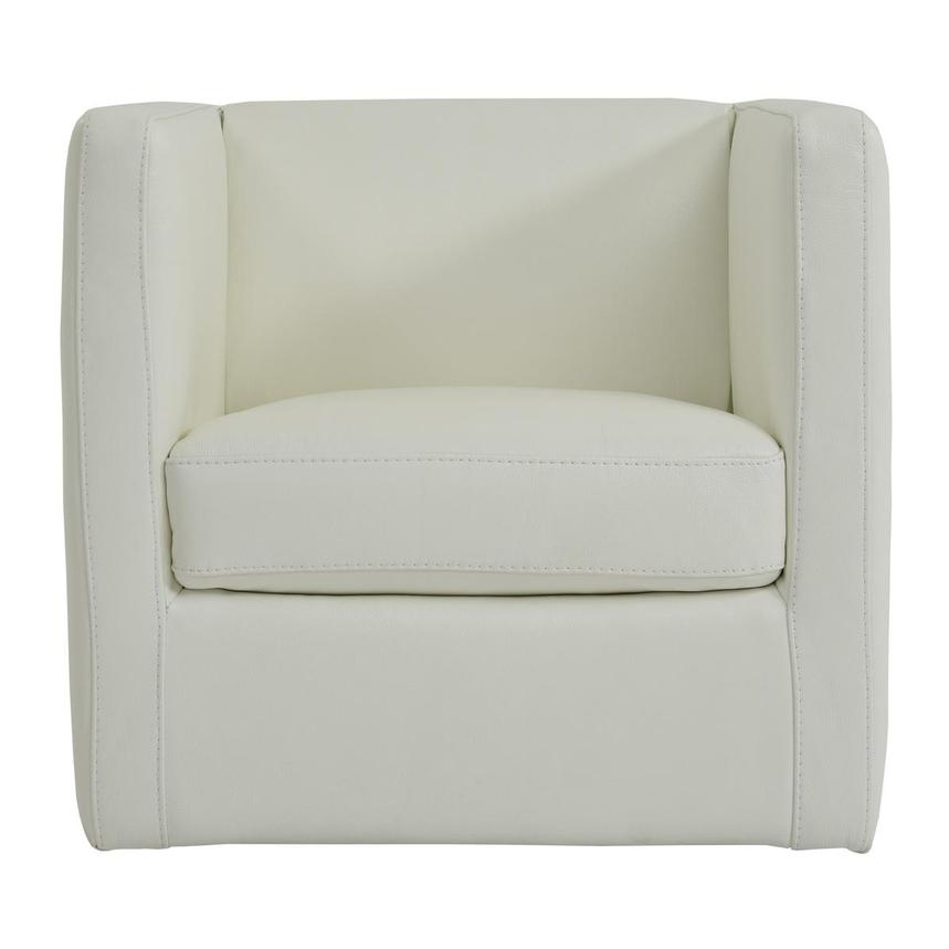 Cute White Leather Swivel Chair  main image, 1 of 4 images.