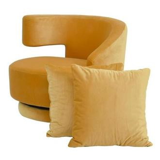 Okru Dark Yellow Swivel Chair w/2 Pillows