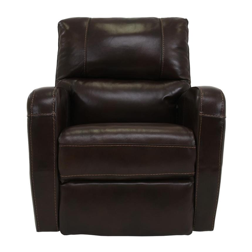 Keegan Chocolate Power Motion Leather Recliner  main image, 1 of 7 images.