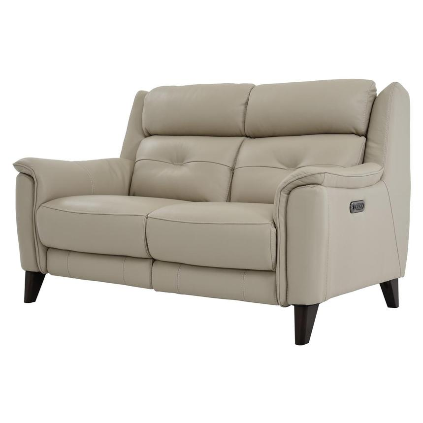 Mayte Cream Power Motion Leather Loveseat  alternate image, 2 of 7 images.