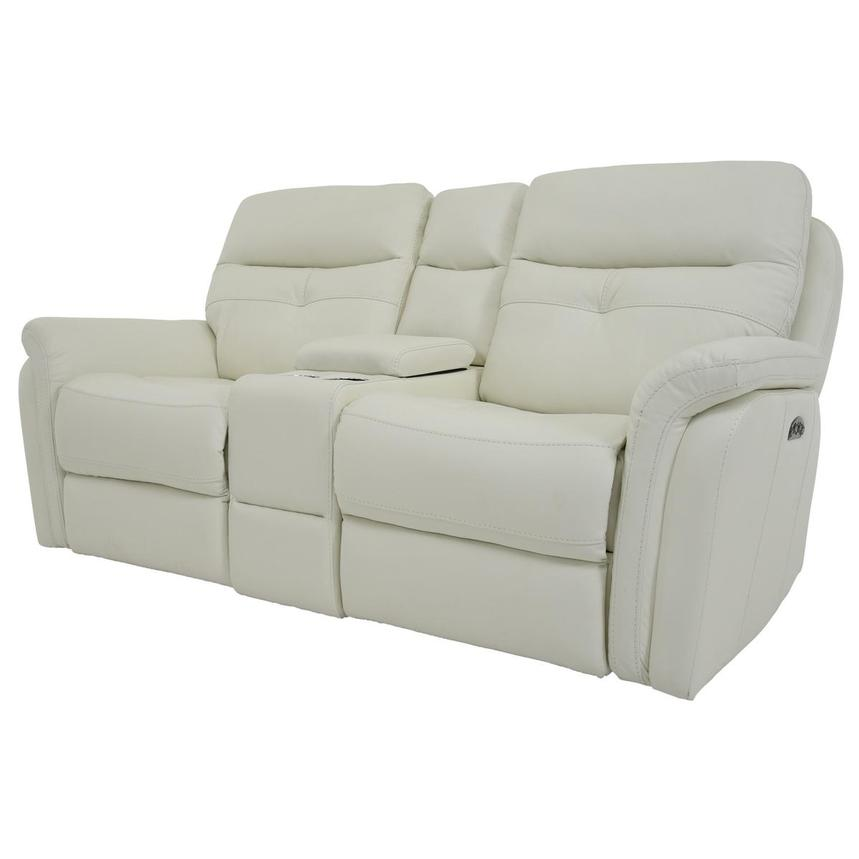 Zane Cream Power Motion Leather Sofa w/Console  alternate image, 2 of 10 images.