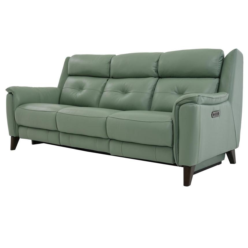 Mayte Green Power Motion Leather Sofa  alternate image, 2 of 10 images.