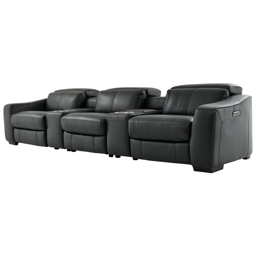 Jay Dark Gray Home Theater Leather Seating  alternate image, 2 of 8 images.