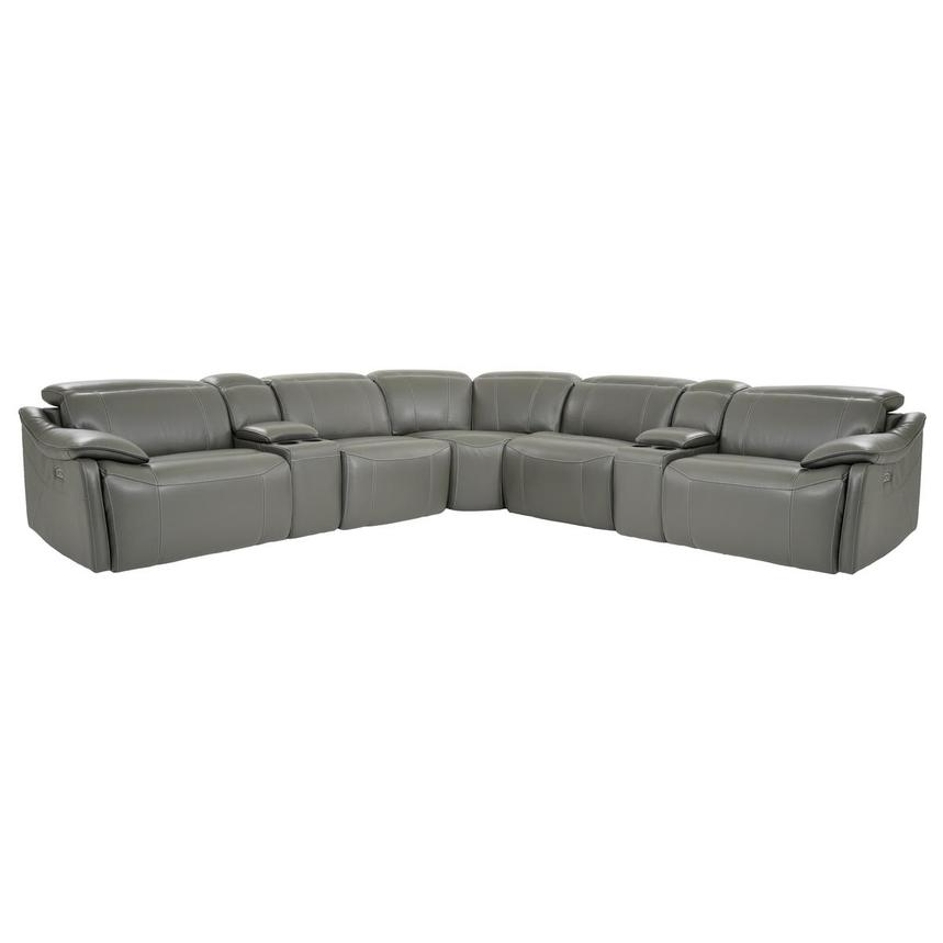 Austin Dark Gray Power Motion Leather Sofa w/Right & Left Recliners  main image, 1 of 10 images.