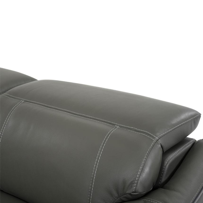 Austin Dark Gray Power Motion Leather Sofa w/Right & Left Recliners  alternate image, 6 of 10 images.
