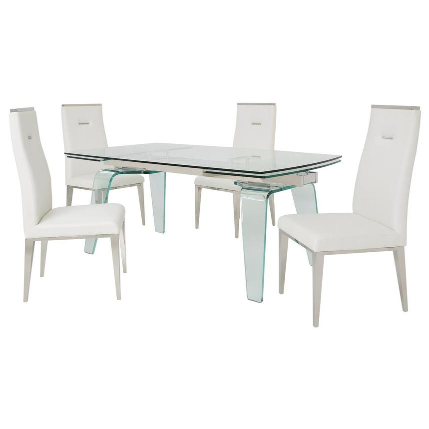 Boston/Hyde White 5-Piece Formal Dining Set  main image, 1 of 15 images.
