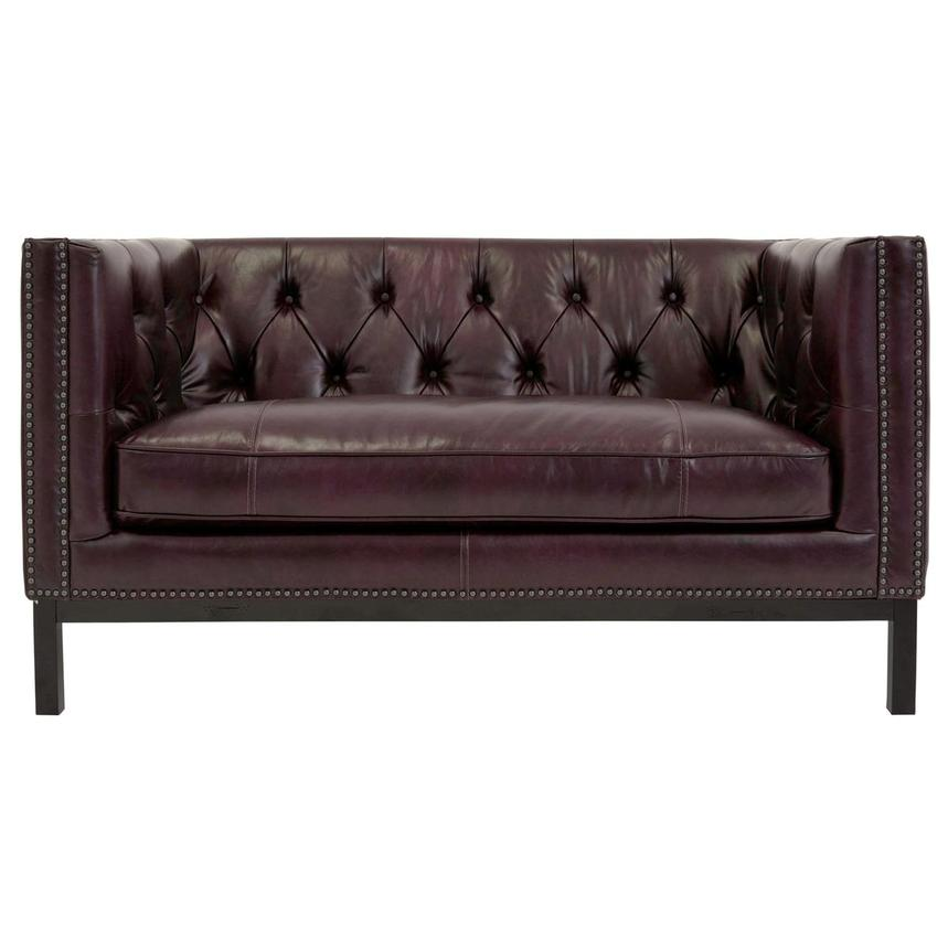 Sophia Brown Leather Loveseat  alternate image, 2 of 7 images.