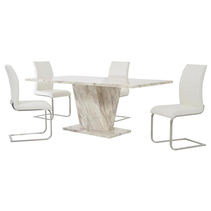 Paisley White 5-Piece Formal Dining Set