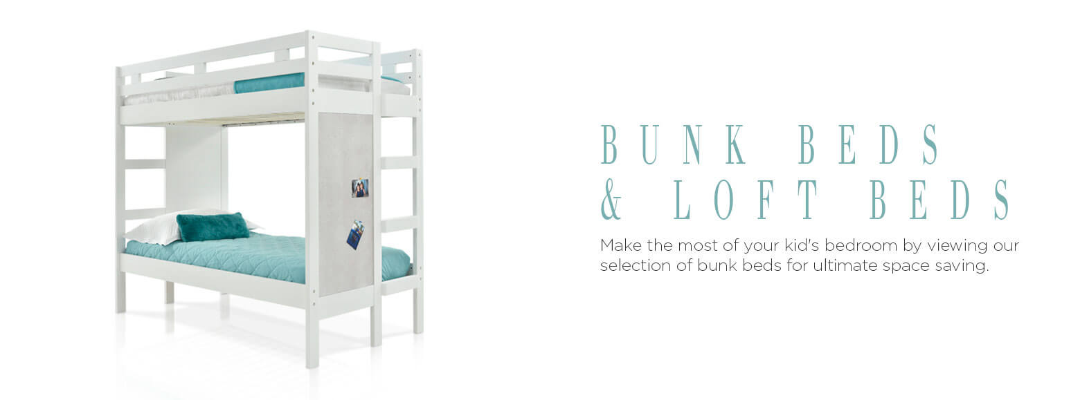 Bunk beds and loft beds. Make the most of your kid's bedroom by viewing our selection of bunk beds for ultimate space saving.