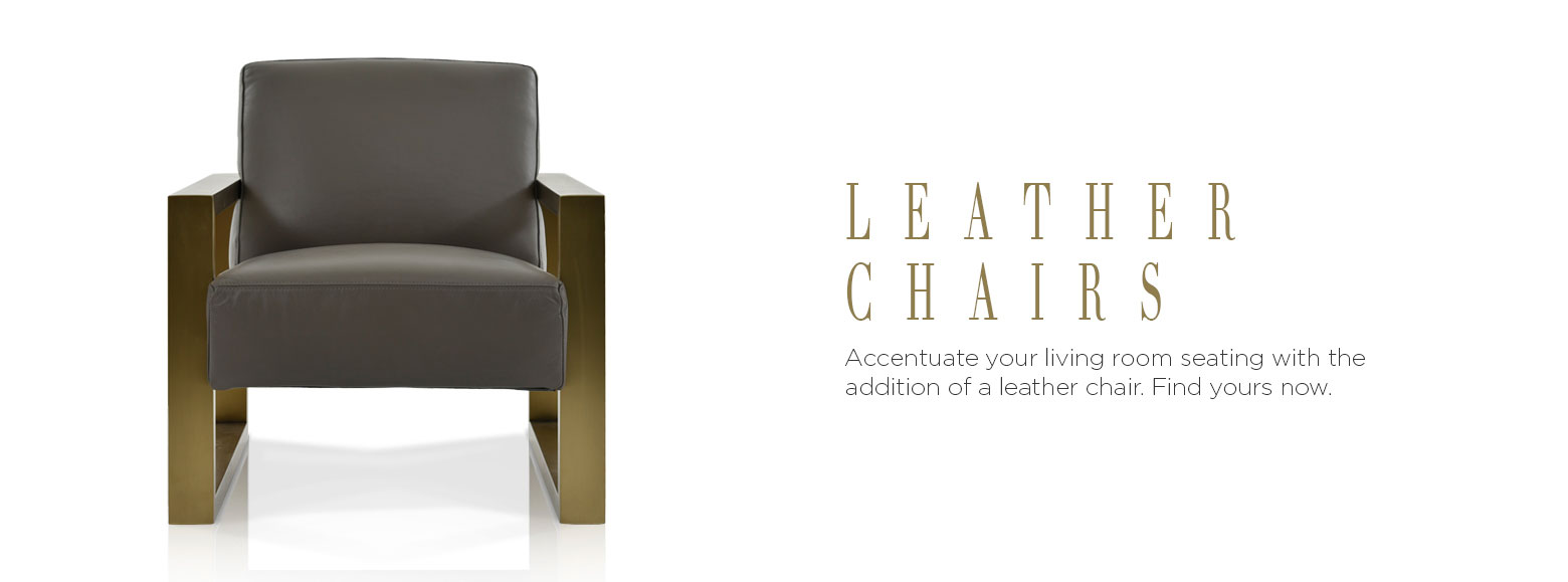 Leather chairs. Accentuate your living room seating with the addition of a leather chair. Find yours now.