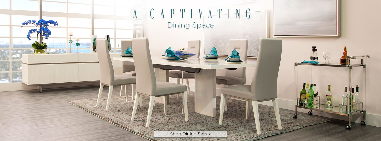 A captivating dining space. Shop dining sets.
