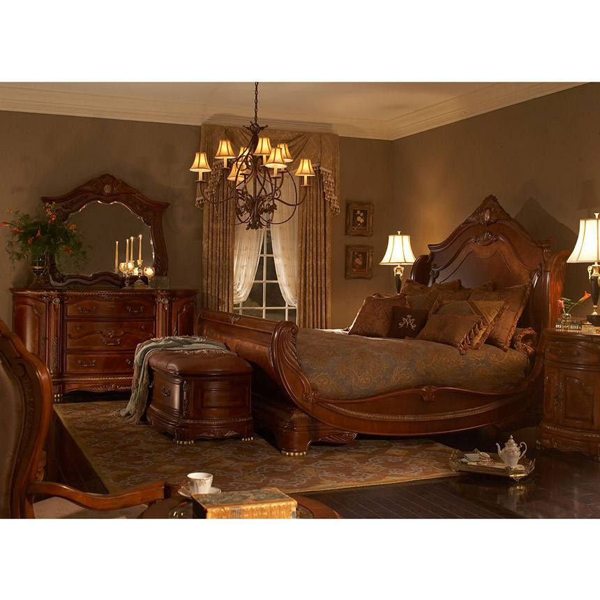 Cortina king sleigh bed el dorado furniture - King size sleigh bed bedroom set ...