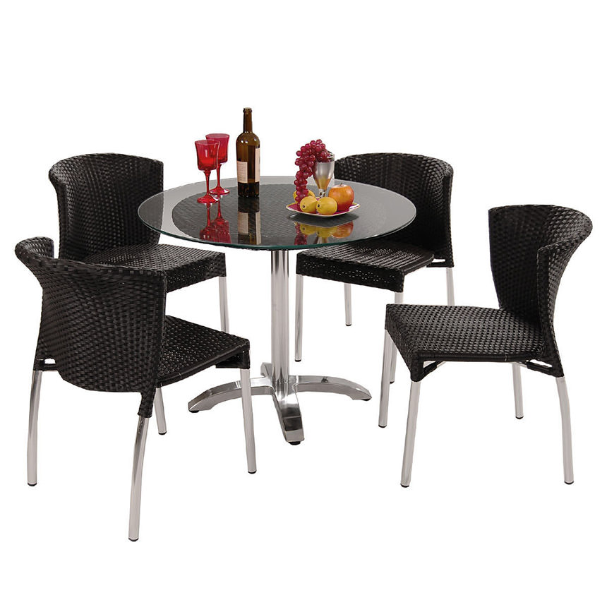 Gerald Black 5 Piece Patio Set W 10mm Glass Top El