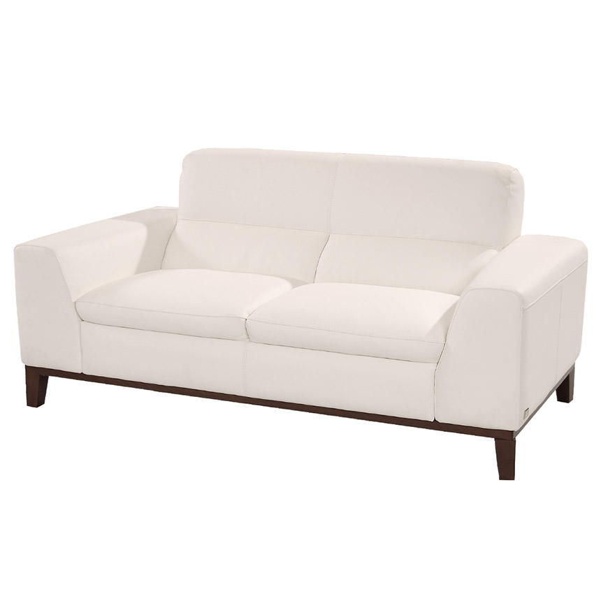 Milani White Leather Loveseat  main image, 1 of 6 images.