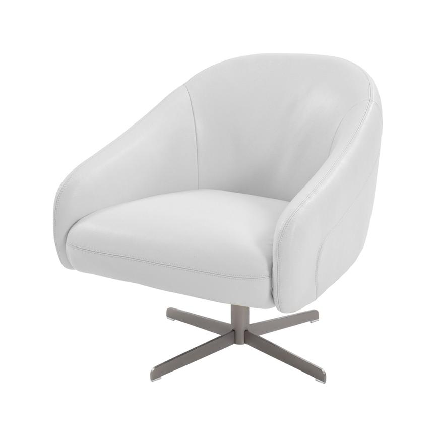 Brookville White Leather Swivel Chair  main image, 1 of 5 images.