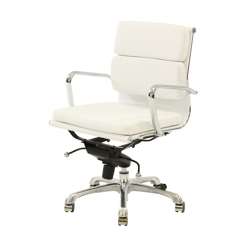 Marconi White Low Back Desk Chair  main image, 1 of 5 images.